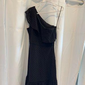 Black Midi Eyelet One Shoulder Dress, Size 4